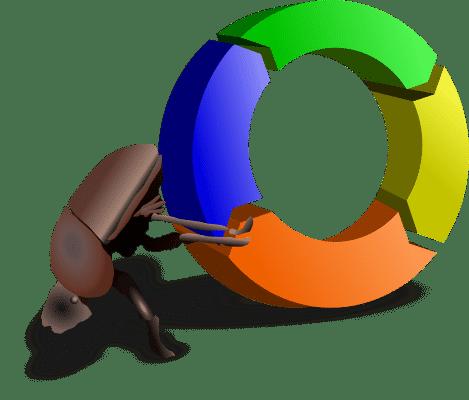 scarabée poussant la roue de l'amélioration qualité